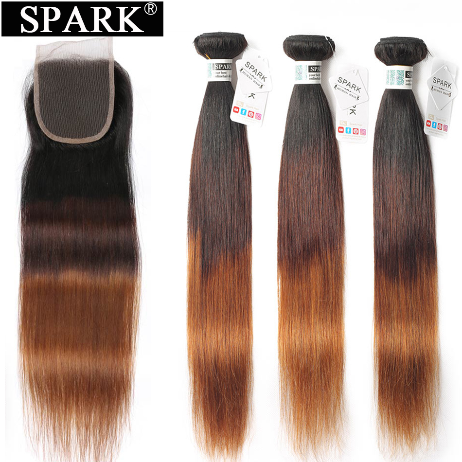 SPARK Ombre Hair Straight Bundles With Closure Brazilian Human Hair Weave Bundles Ombre Remy Closure With Bundles Medium Ratio