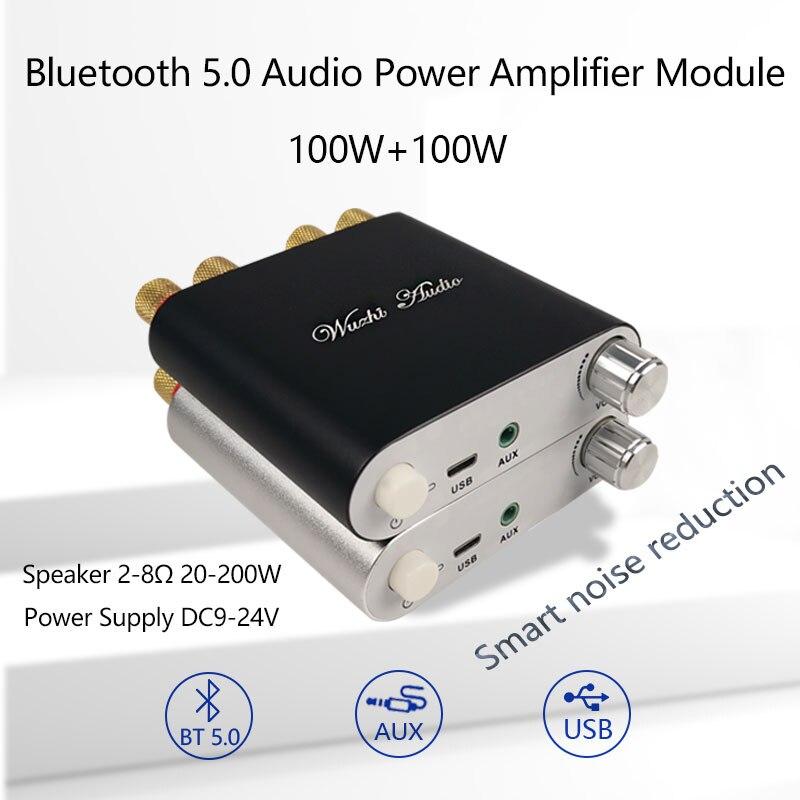 2*100 Вт Bluetooth 5,0 TPA3116D2 стерео HiFi усилитель мощности аудио Плата TPA3116D2 цифровой USB усилитель домашний кинотеатр мини-усилитель