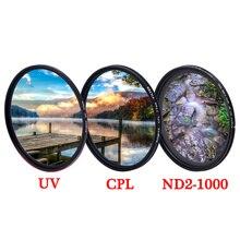 KnightX UV CPL ND2 ND1000 가변 편광판 카메라 렌즈 필터 52mm 55mm 58mm 67mm 77mm 사진 densidad neutra case