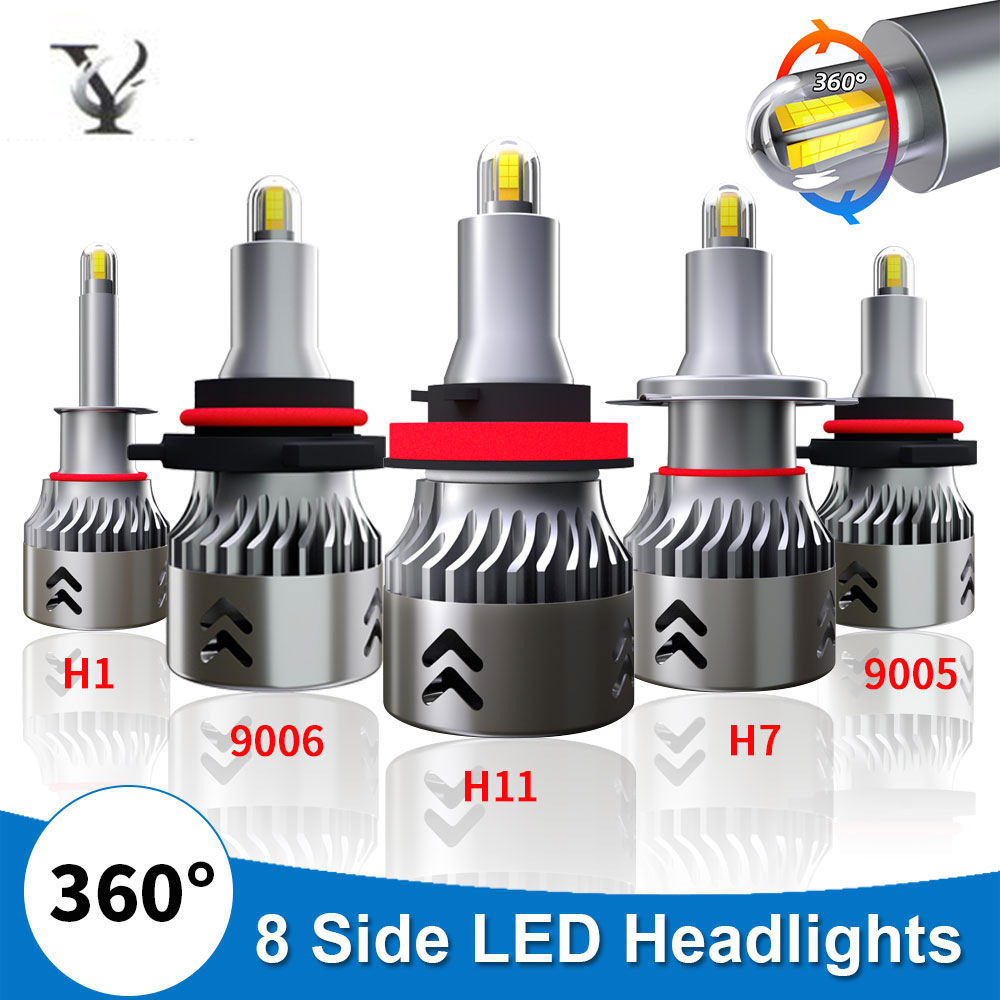 <font><b>Mini</b></font> <font><b>H7</b></font> H1 H11 <font><b>Led</b></font> Headlight Bulbs 9005 HB3 H10 9006 HB4 Turbo <font><b>Canbus</b></font> 8 sides 360 Degree CSP Chips 6000K Super Bright Auto Lamp image