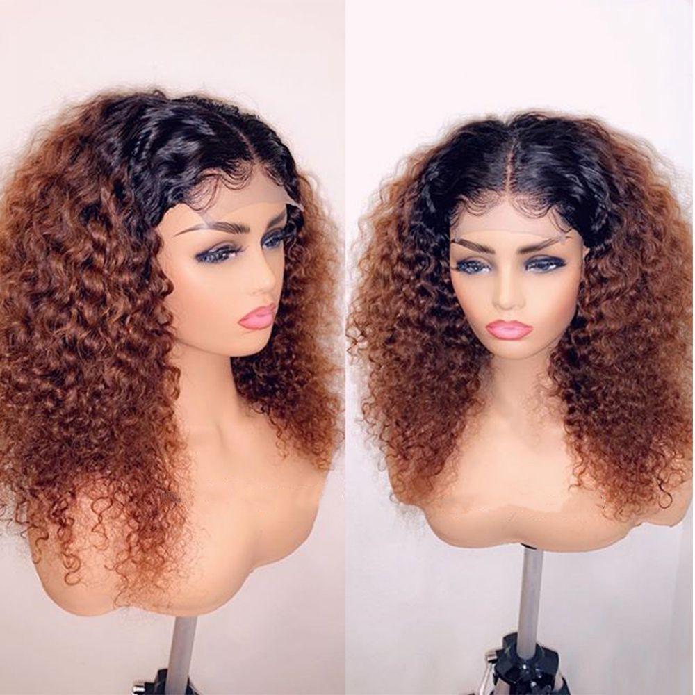 1B 30 кудрявые бразильские волосы Remy, кружевной парик с эффектом омбре, плотность 180% человеческих волос, парики с детскими волосами 13*4, отбеленные узлы с бесплатной частью