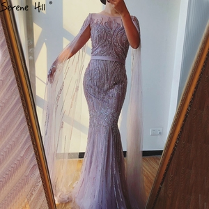 Image 3 - Dubai Pink Luxury Long Sleeves Evening Gowns 2020 Mermaid Sequins Beading Sexy Fromal Dresses Serene Hill LA70160