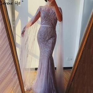 Image 2 - Grey Luxury Sleeveless Dubai Design Evening Dresses 2020 O Neck Crystal Beading Sexy Evening Gowns Serene Hill LA70160