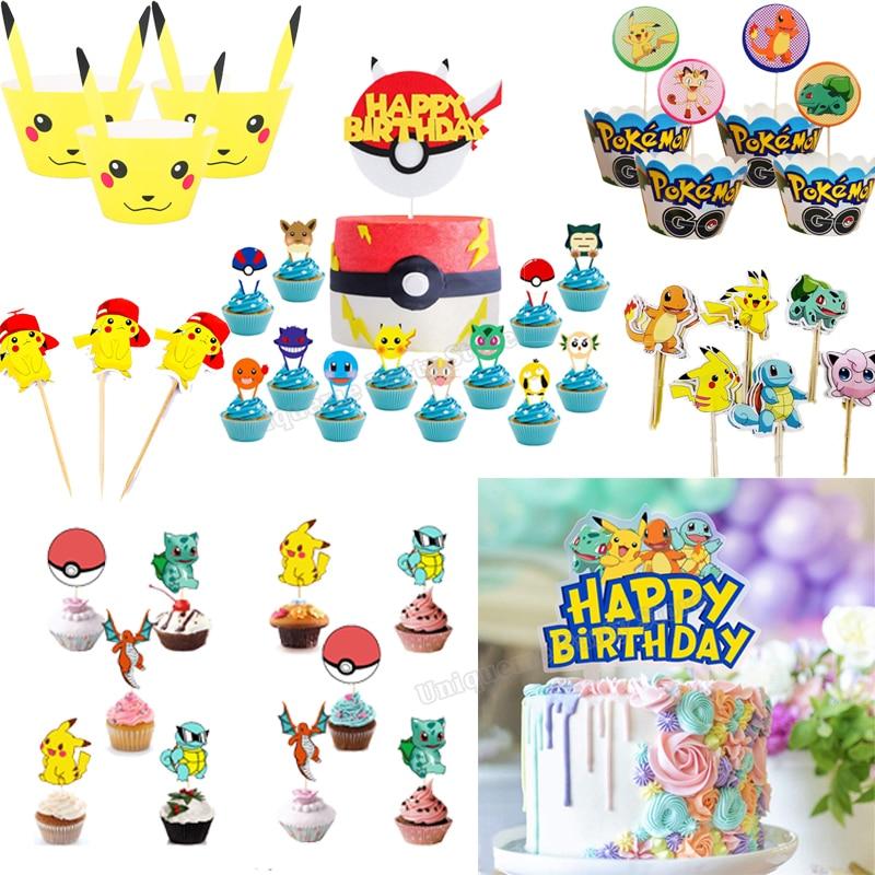 Покемон для украшения торта, принадлежности для дня рождения с изображением Пикачу и героев мультфильма «мяч, выпеченный в гофрированной ф...