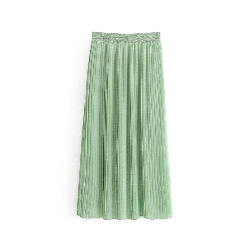 Fairy Skirt Summer Fresh Mint Green Sweet Chiffon Skirt High-waisted Irregular Pleated Skirt