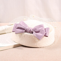 High Quality Elegant Pure Wool Felt Fall/Winter Hat For Women Wedding Party Church Hats Veil Vintage Fedoras Berets Banquet Wear