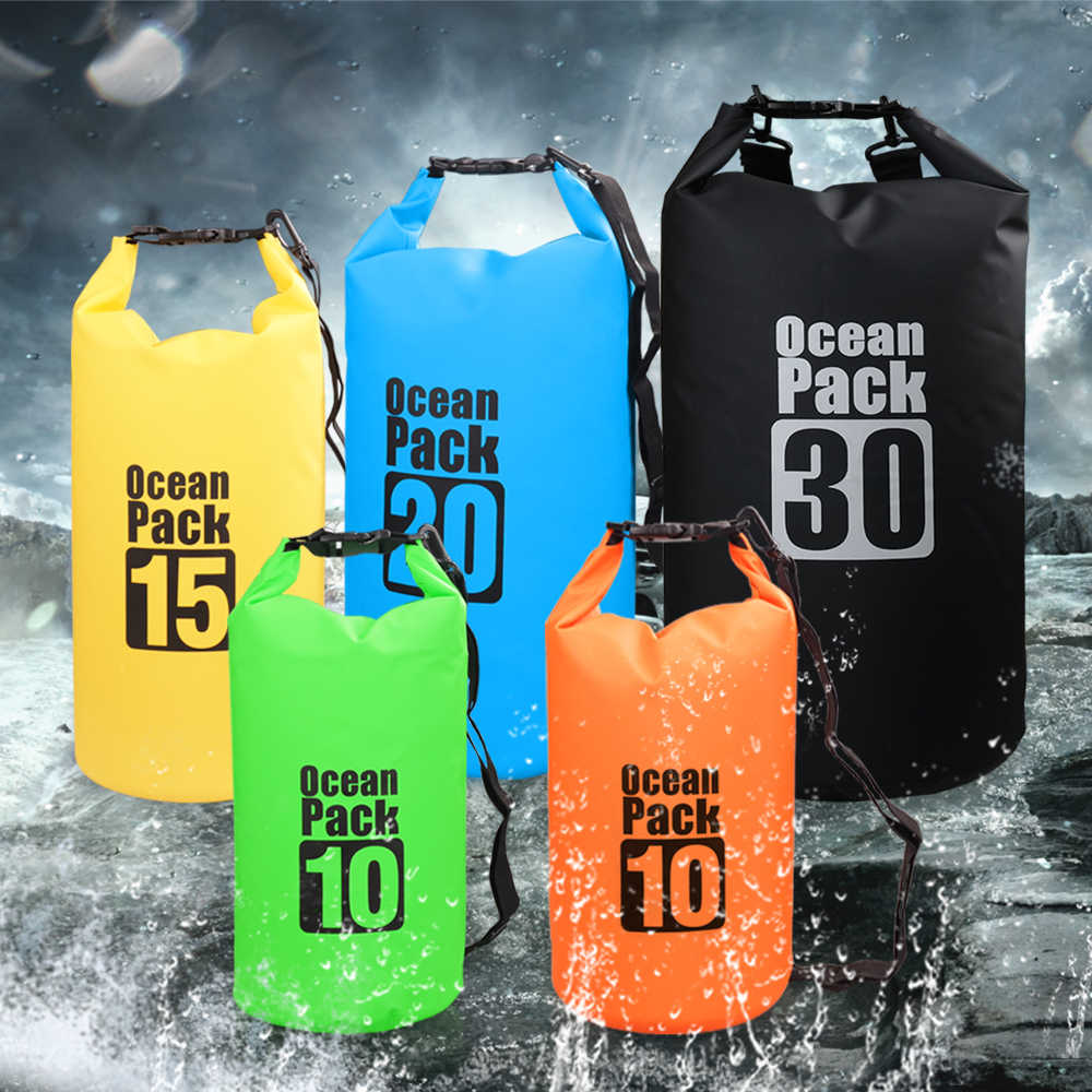 10L/15L/20L/30L Swimming Bag Waterproof Dry Bag Outdoor Backpack Water Floating Bag for Kayaking Rafting Boating River Trekking
