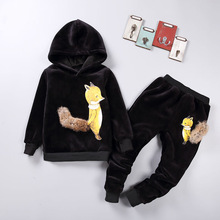 New Autumn Winter Boys Girls Clothes Sets 2pcs Children Gold Velvet Little Fox Suit Casual Warm Thick Outfits Tracksuit Clothing kid clothes sets children winter autumn tracksuit thick jacket hoodie pants for boys girls warm suit set in stock