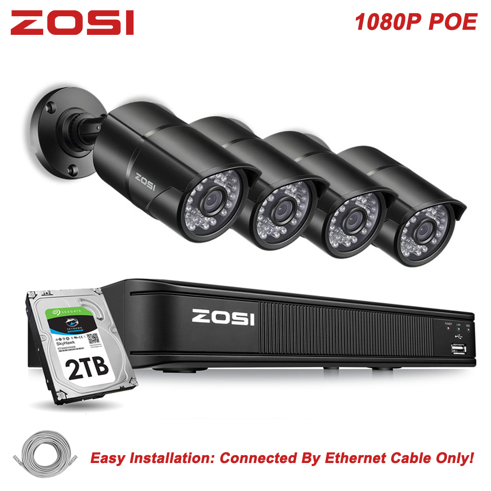 ZOSI 8CH H.264 NVR 1080P IP Network POE Video Record IR Outdoor CCTV Security Camera System Home Video Surveillance kit HDD