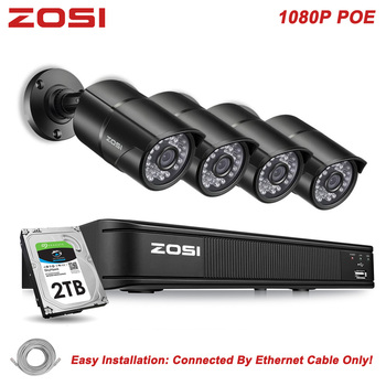 ZOSI 8CH H.264 NVR 1080P IP Network POE Video Record IR Outdoor CCTV Security Camera System Home Video Surveillance kit HDD moosafe 4ch 1080p poe nvr kit 4pcs 720p outdoor ip camera p2p onvif ir security cctv system video surveillance kits with 1tb hdd
