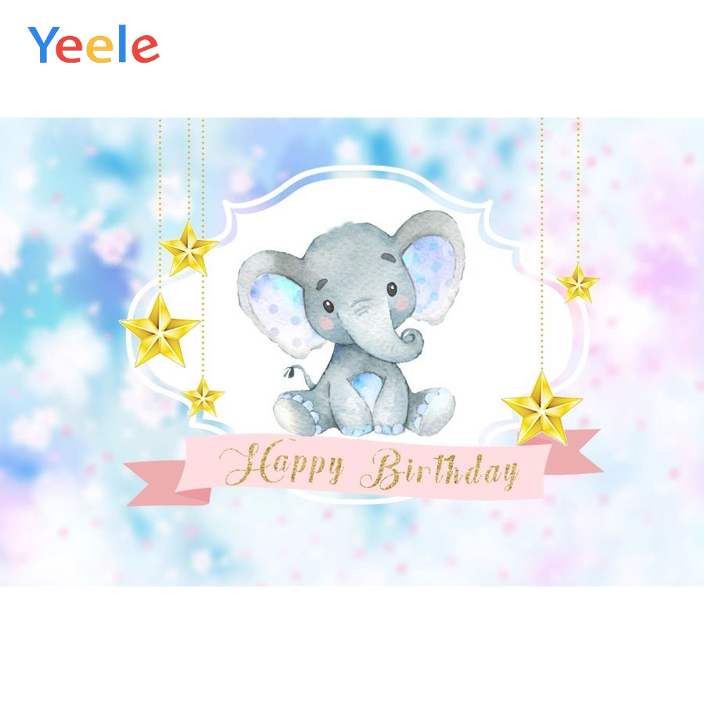 Yeele Baby Birthday Backdrop Elephant Star Colorful Customized Photocall Vinyl Photography Background For Photo Studio Props in Background from Consumer Electronics