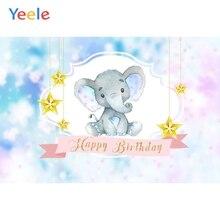Yeele Baby Birthday Backdrop Elephant Star Colorful Customized Photocall Vinyl Photography Background For Photo Studio Props