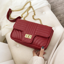 new bags for women 2019 pu Leather luxury handbags women bags designer lock chain Shoulder bag  Small Flap Messenger bag