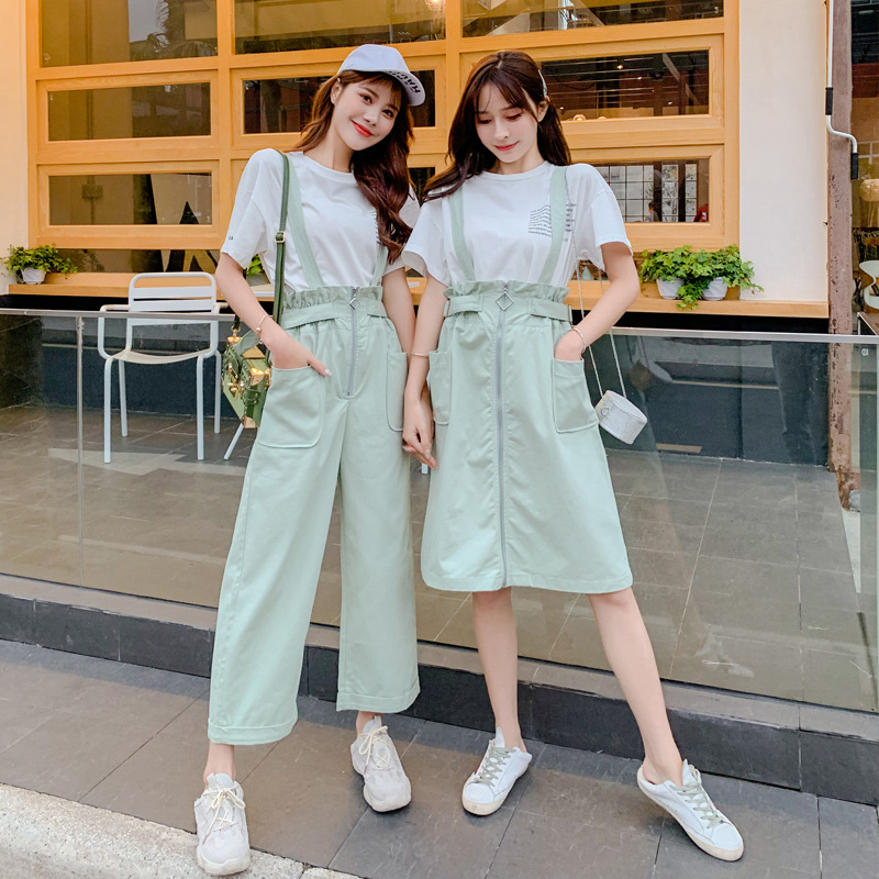 By Age Wide-Leg Suspender Pants + Korean-style Loose-Fit Hipster Suspender Skirt Best Friend-Two-Piece Set