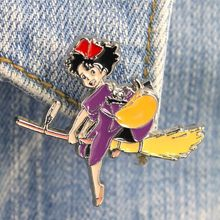 1Pc Hot Sale Japanese Anime Ghibli DMLSKY KiKis Delivery Service Witch Brooch Metal Enamel Pin Backpack Badge Brooches(China)