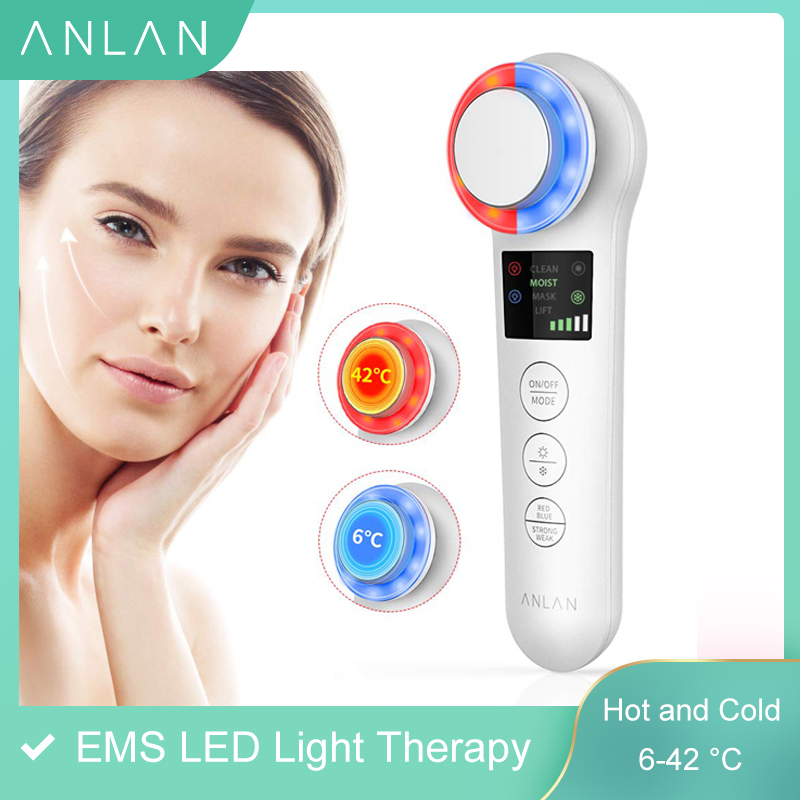 EMS Skin Rejuvenation Facial Massager Face Lifting Tightening Anti Aging Wrinkle Blackhead Removal LED Photon Red Blue Light