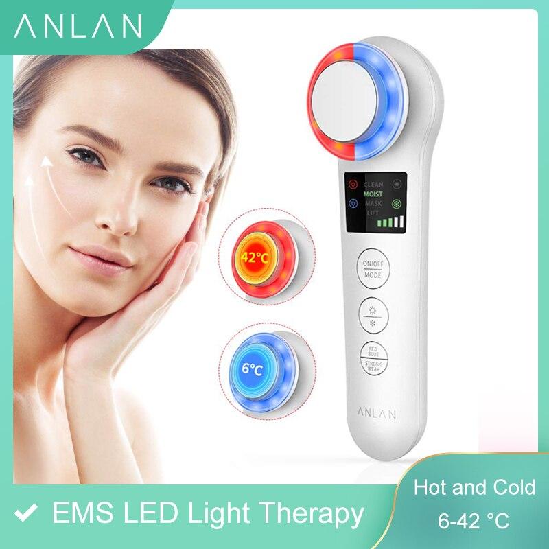 EMS Skin Rejuvenation Facial Massager Face Lifting Tightening Anti Aging Wrinkle Blackhead Removal LED Photon Red Blue Light