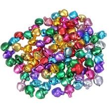 100 pièces bricolage perles en vrac petit Jingle cloches cadeau fait à la main artisanat noël ornement cadeau mélange couleur 6 MM décorations de noël pour la maison