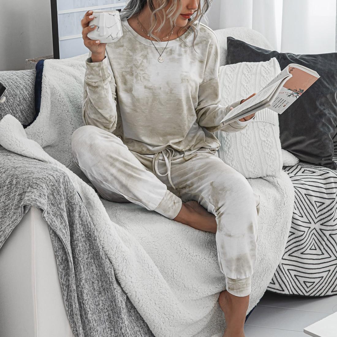 Женский пижамный комплект, Новая повседневная домашняя одежда с леопардовым принтом, женские пижамы, длинные штаны, одежда для сна, домашни...