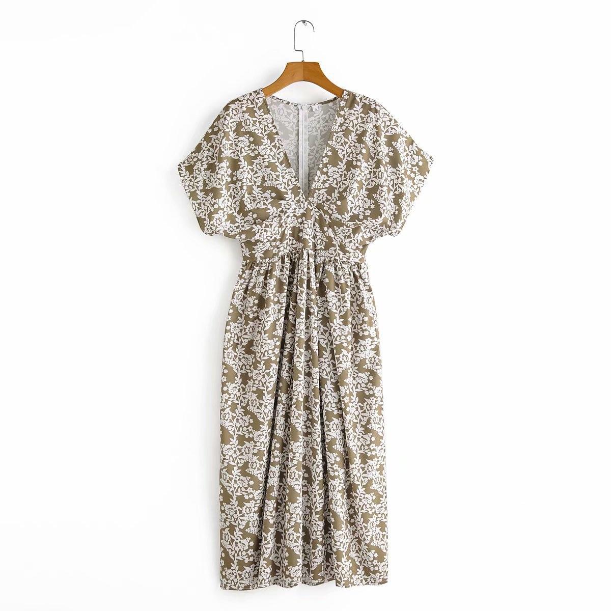 2020 New Spring Summer European Floral Printed Female Dress Zaraing Vadiming Sheining Women's Printed Dress Streetwear S481