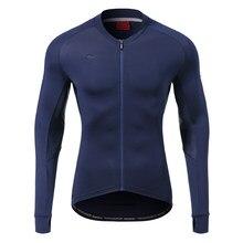 Santic-Camiseta de manga larga para ciclismo, camisetas de ciclismo reflectantes asiáticas para hombre, cómodas, con protector solar, para bicicleta de montaña y carretera