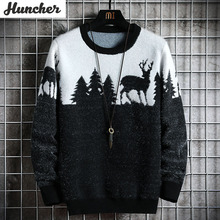 Huncher Mens Knitted Sweater Men 2020 Autumn Winter Casual Christmas Tree Deer Pullover Vintage Black Slim Fit Sweaters Male