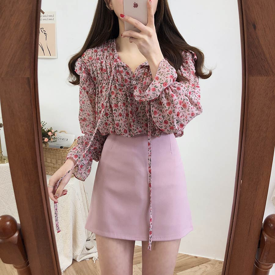 H030db1faf5914f14acc904bcc05691bd9 - Spring / Autumn Lace-Up Collar Long Sleeves Floral Print Blouse