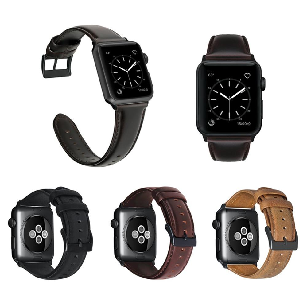 New Oil Wax Leather Strap For Apple Watch 4 3 2 1 42mm 38mm Leather Black Brown For IWatch 4 5 40mm 44mm Wristband Series