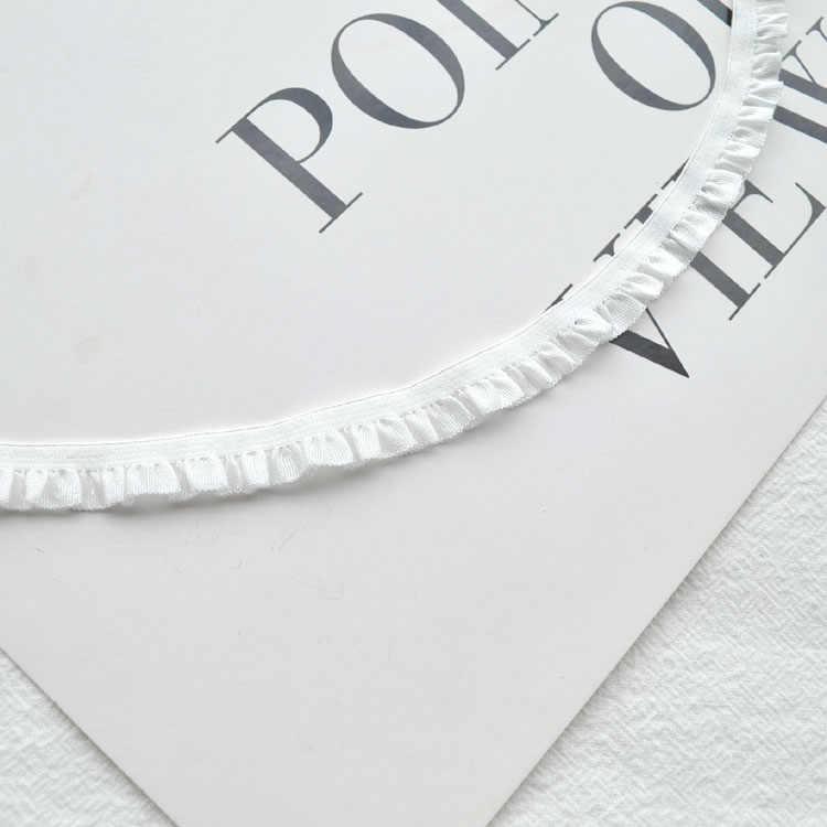 (1Yard) 10mm elastik şerit pilili dantel şerit dantel Trim Patchwork malzeme DIY dikiş ve şapkalar aksesuarları dekor malzemesi
