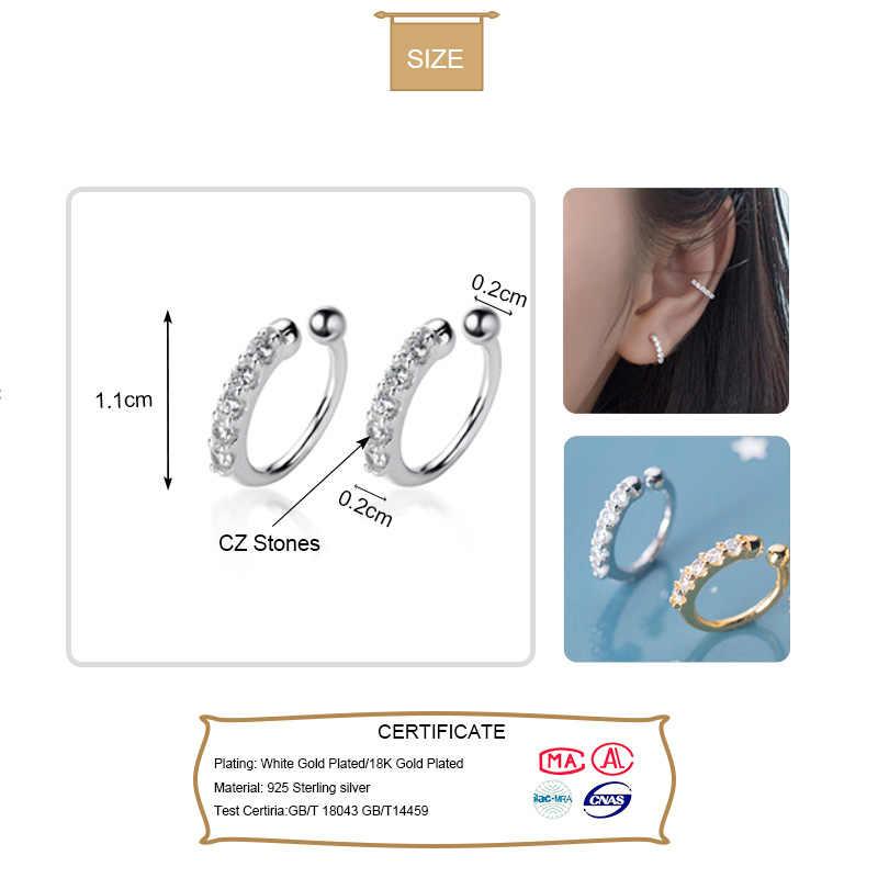 Trustdavis 100% 925 Sterling Silver Bersinar CZ Manset Telinga Klip Pada Anting-Anting untuk Wanita Wanita Tanpa Tindik Anting-Anting Perhiasan DA372