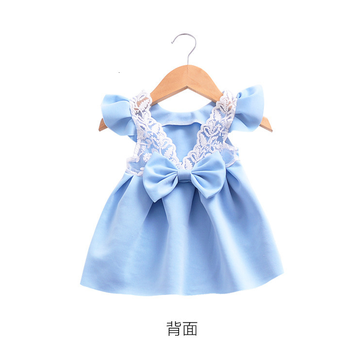 H030dcb525ac54a918b305e4711b5da85D Girls Dress 2018 Summer Explosion Solid Color Denim Dress Cartoon Polka Dot Bow Cartoon Bunny Satchel Korean Baby Cute Dress