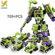 709 sztuk 6w1 transformacja pojazdy inżynieryjne Robot klocki do budowy koparka samochód ciężarówka miasto konstruktor zabawki cegły dla dzieci