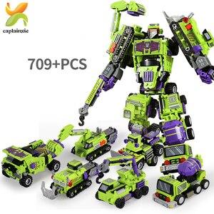 Image 1 - 709PCS 6IN1 שינוי הנדסת כלי רכב רובוט אבן בניין מכונית חופר משאית עיר בנאי ילדי לבנים צעצועים