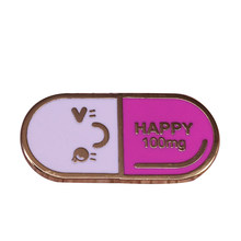 Happ ~ Y Pil Emaille Pin Creatieve Geneeskunde Badge Lachend Gezicht Broche Tekst 100Mg Leuke Pins (0)(China)