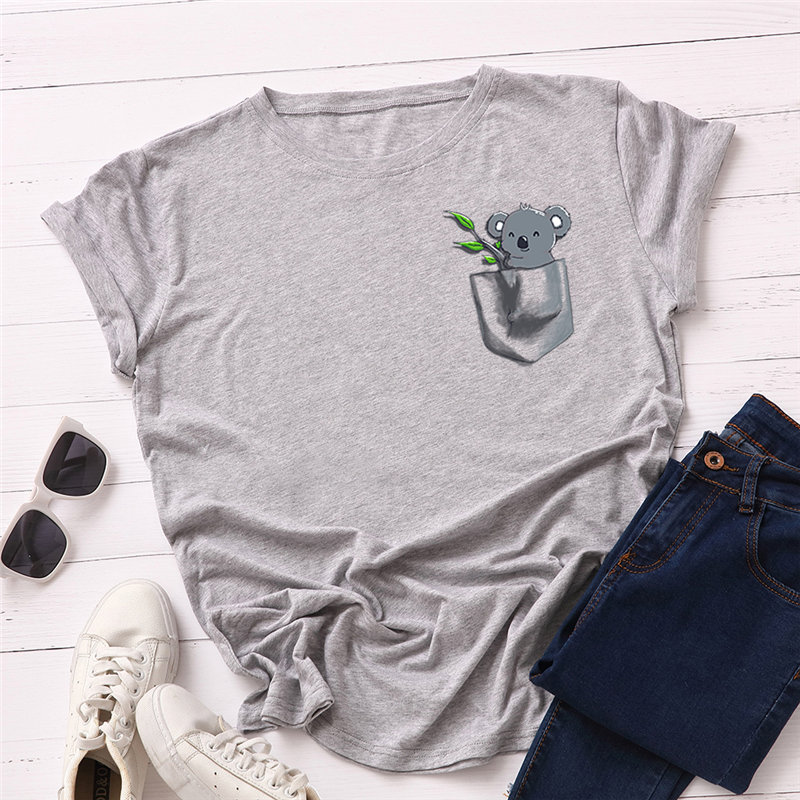 H030de12bc1414951ba5a3bdf507479b6D - Women T-shirt Fashion Plus Size Cotton Top Cute Koala Print T shirt Female O-Neck Short Sleeve harajuku Tees feminina