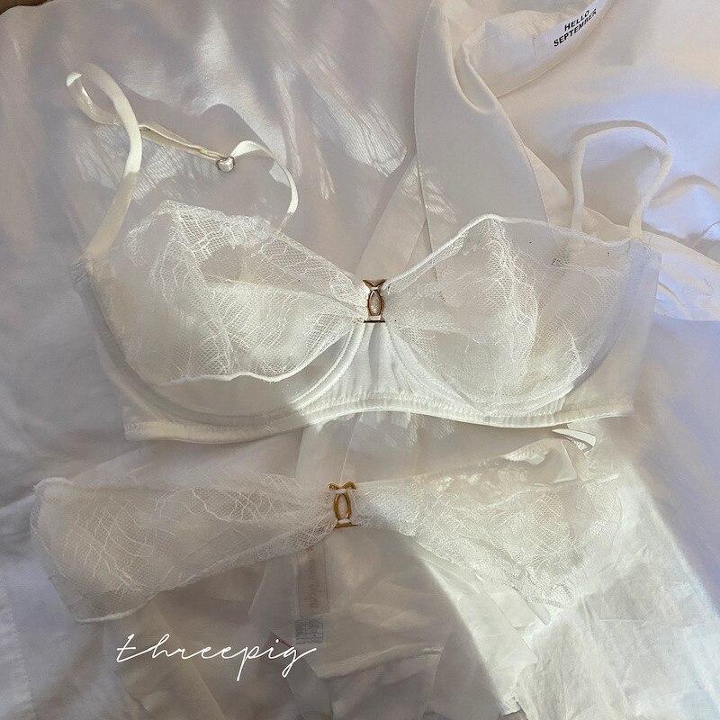 Wriufred-ensemble de lingerie avec slip, couleur pure, culotte taille basse, en maille légère, de luxe, transparent, pour fille