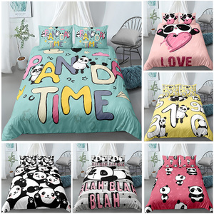 Luxury 3D Bedding Set Cartoon Panda Printed 2/3pcs Duvet Cover Pillowcase Kids Comfortable Bed Single Queen King