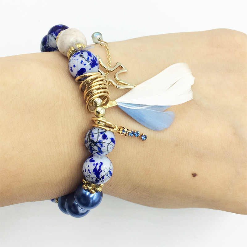 HanJing New Designer 2019 Christmas Gift Jewelry Feather Beaded Druzy Swallows Nice  Bangle Bracelet Bead For Woman Party Gift