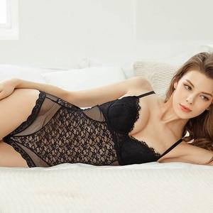 Image 3 - CINOON סקסי תחרה Bustier ומחוך נשים גמישות שקוף תחרה בגד גוף הלטר סרבל מקסים הלבשה תחתונה גותי מחוך