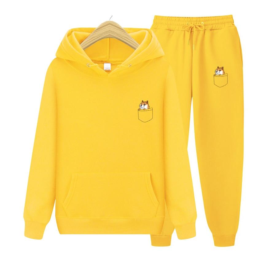 Новая брендовая Осенняя толстовка с капюшоном и принтом кошек и букв + штаны, мужская повседневная толстовка, Спортивная флисовая куртка с к...