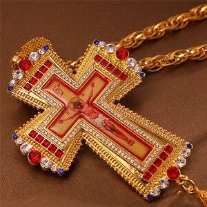 Image 3 - Croix pectorale en or, icône religieuse de baptême orthodoxe, croix de léglise chrétienne en colden