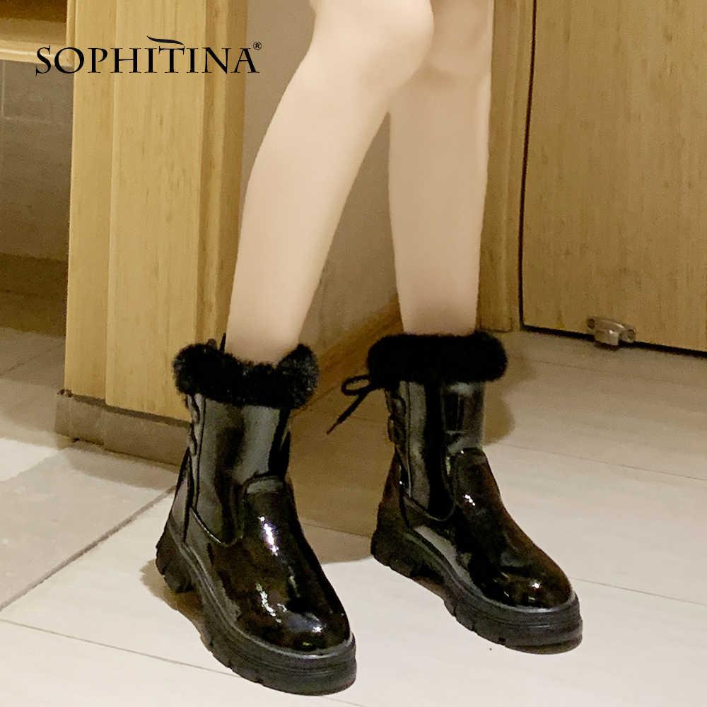 SOPHITINA özel tasarım çizmeler el yapımı yılan yuvarlak ayak oyalamak kare topuk dantel-up peluş sıcak satış ayakkabı kadın yeni çizmeler MO384
