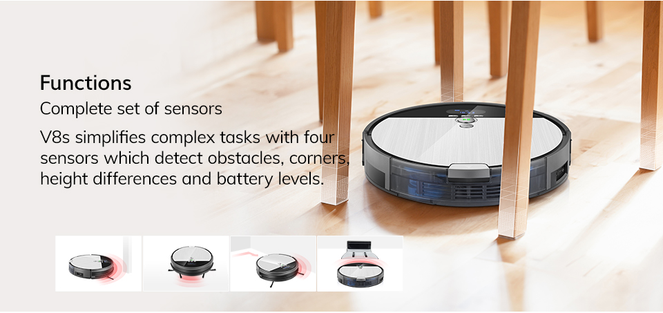 H030e62d8449047c39b4a7bb603df48ccl ILIFE V8s Robot Vacuum Cleaner Sweep&Wet Mop Navigation Planned Cleaning large Dustbin large Water Tank Schedule disinfection