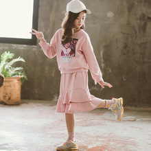 Girls Clothes Autumn Winter 2019 Teenage Clothing Set Cute Pink Casual Hoodies + Fashion Dress for Kids 7 8 9 10 12 Y