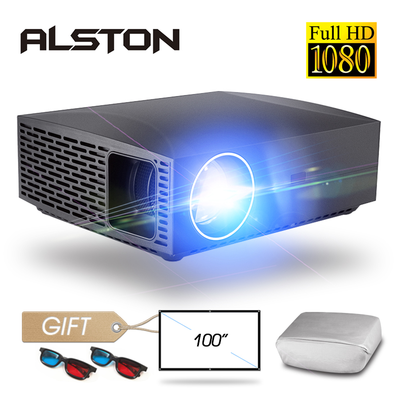 ALSTON F30 F30UP Full HD 1080P Projector 4K 6500 Lumens Cinema Proyector Beamer Android WiFi Bluetooth hdmi VGA AV USB with gift-in LCD Projectors from Consumer Electronics