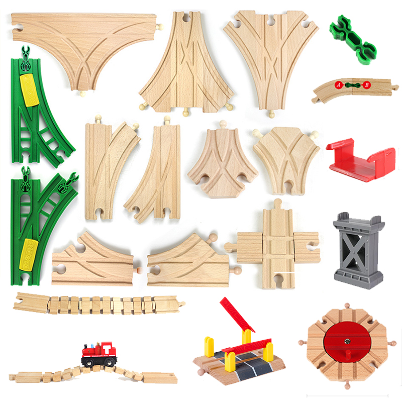 Wooden Toys Blocks Rainbow Truck Wood Educational Kids Toys For Children Wooden Train Accessories Compatible Suit For Thoma Set