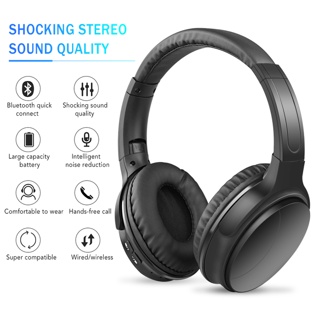 Noise Reducing Headphones Wireless Bluetooth Over the Ear Headphones with Mic Passive Noise Blocking HiFi Stereo Headset 1