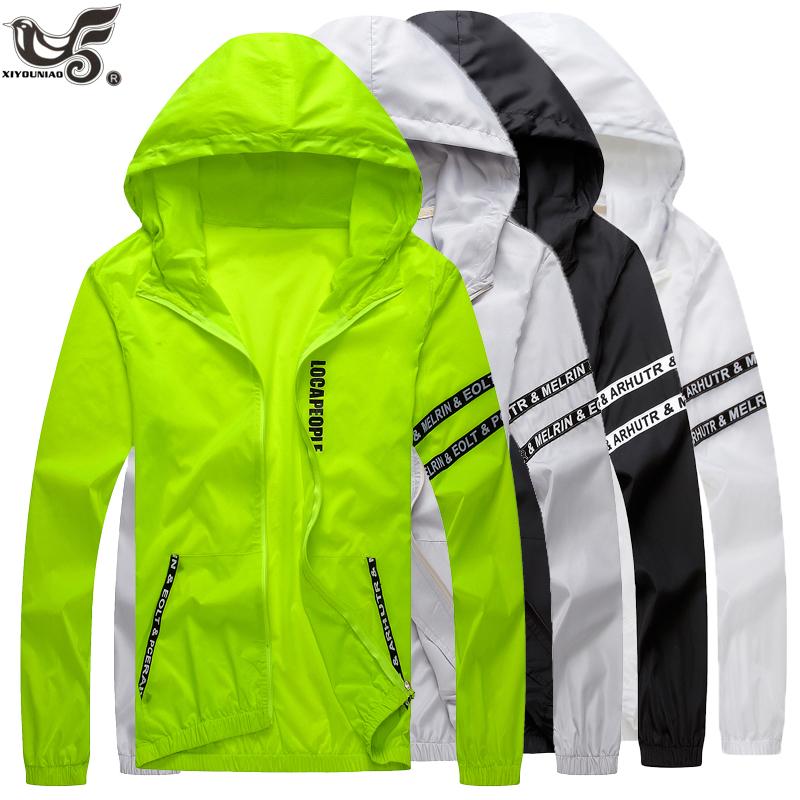 Men`s windbreaker summer Sun protection jacket outwear sports Cycling Thin  hooded coats men jaqueta masculina Brand clothing