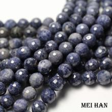 자연 블루 사파이어 (1 가닥/세트) 9mm + 0.2 면 처리 된 라운드 루즈 비즈 보석 만들기 디자인 패션 스톤 diy 팔찌