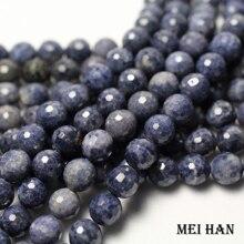 Doğal mavi sapphiree (1 strand/set) 9mm + 0.2 faceted yuvarlak dağınık boncuklar takı yapımı için tasarım moda taş diy bilezik